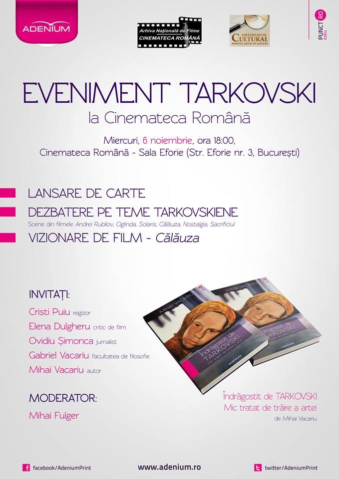 eveniment Tarkovski la Cinemateca Romana afis